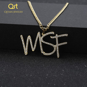 Image 4 - Customized Iced Out Cursive Name Necklace Initial Letters Zirconia Nameplate Necklace Hippop Cuban Chain Jewelry For Men Women