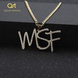 Image 4 - Personalizado iced para fora cursive nome colar letras iniciais zircônia placa de identificação colar hippop cubana chain jewelry para homens