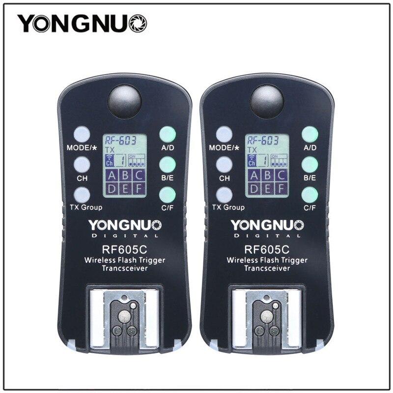 Yongnuo 2 шт. RF605 RF-605 Беспроводной вспышка триггера приемопередатчик для Nikon D7100 D5200 D5100 для Canon 650D 1000D 1100D 1000D