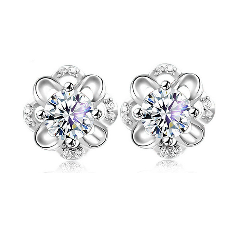 Luxtury 100% Genuine 925 Sterling Silver Woman Earrings Fashion Flower Design With AAA Grade CZ Diamond Cubic Zircon Jewelry