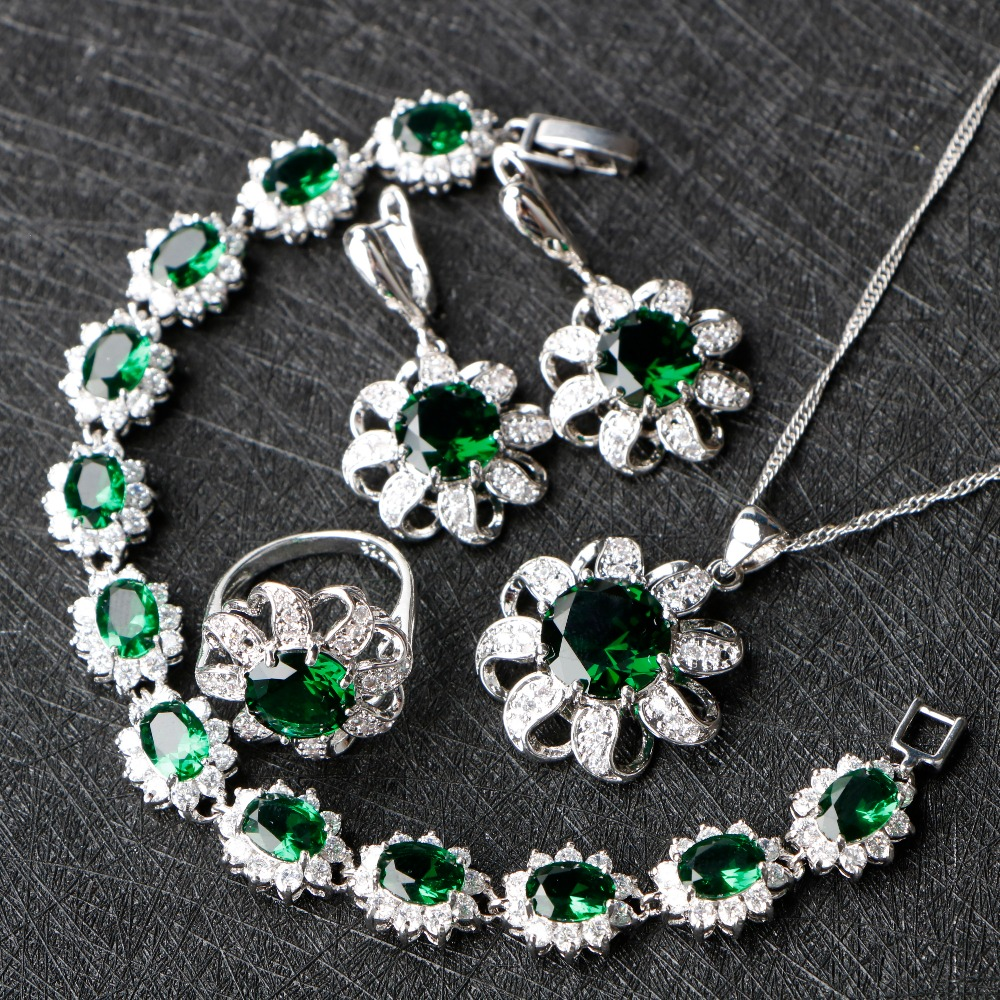 Green Cubic Zirconia Silver 925 Jewelry Sets Christmas Earrings/Rings/Pendant/Necklace/Bracelets Sets For Women Free Gfit Box