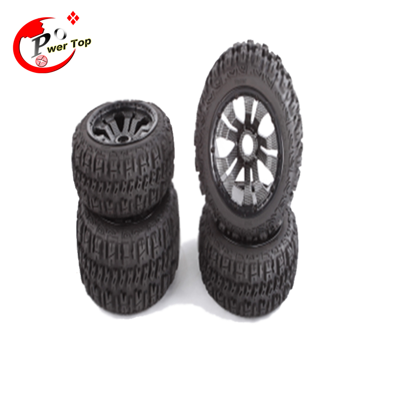 все цены на King Motor Baja Pioneer tire with carbon Poison rim black beadlock For HPI Baja 5B Parts Rovan Free Shipping онлайн
