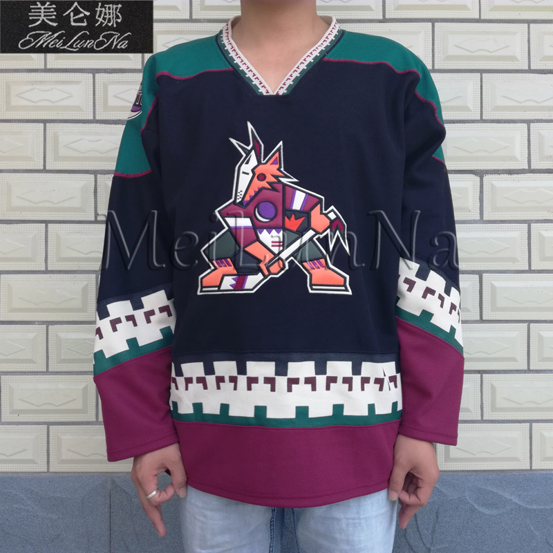MeiLunNa Christmas Black Friday Phoenix Coyotes Throwback Blank 97 Jeremy Roenick Black Hockey Jersey 0001 Embroidery Stitched