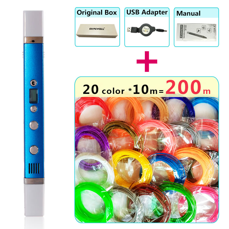myriwell 3d pen + 20 Colour * 10m ABS filament(200m),3d printer pen-3d magic pen,Best Gift for Kids,Support mobile power supply, abs original anet 3d filament plastic for 3d printer and 3d pen many colors 1kg 340 m abs express shipping from moscow