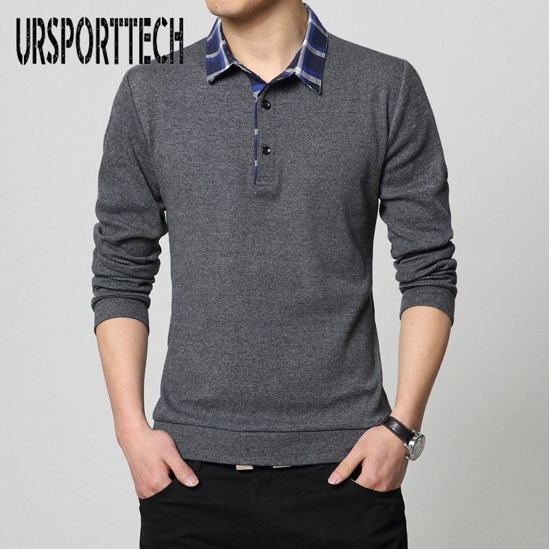 2018 New Spring And Autumn Long-Sleeved   Polo   Shirt Men's Lapel Solid Color Large Size Bottoming Shirt Korean Clothing