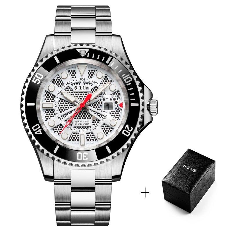 6.11 New Solar-powered watch Full Steel Clock Army Military Outdoor Quartz Wrist Watch Men Casual Waterproof Sport watch +box