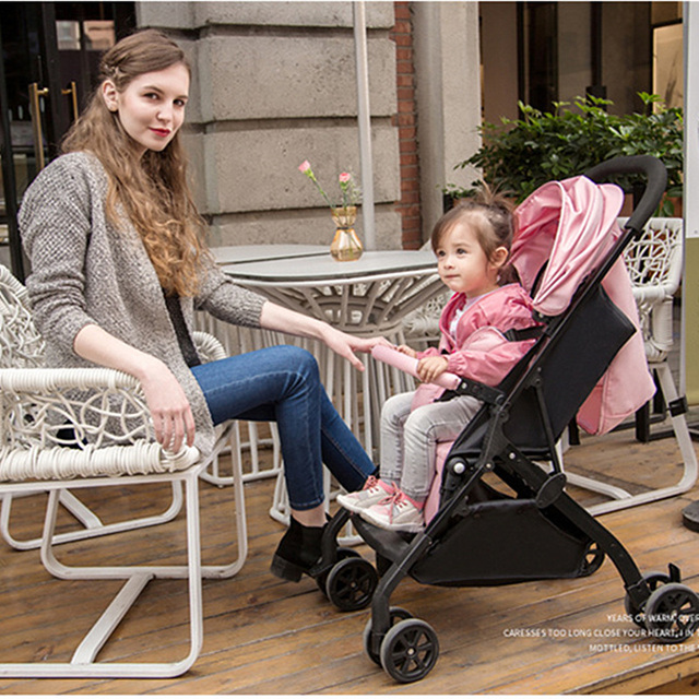Ultra Light Portable Baby Trolley – black red