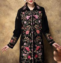 2016 new Noble Elegant Winter Temperament Middle-aged Mothers Embroidered long Big Size Slim fashion Woolen Coat F2466
