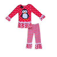2016 New Arrival Girls Boutique Clothing Set Polka Dots Ruffle Pants Penguin Deco Christmas Kids Cotton Outfits C032