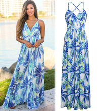 Blue Tank Strapless Sleeveless Bandage Dresses Women Long Bohemian Chiffon Dress Print Floral Party Elegant Vintage Clothing bohemian strapless sleeveless floral print women s dress