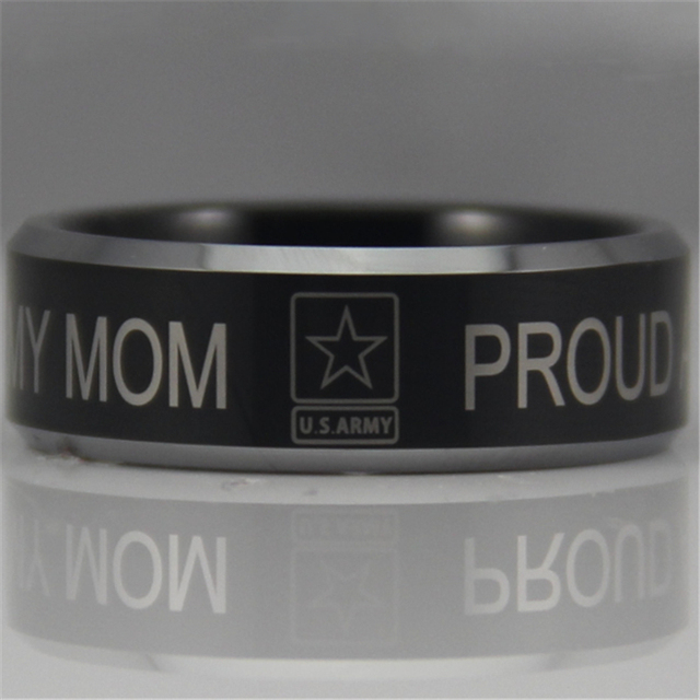 YGK Free Shipping YGK JEWELRY Hot Sales 8MM Military Proud Army MoM Design Men's Black Tungsten Comfort Fit Ring