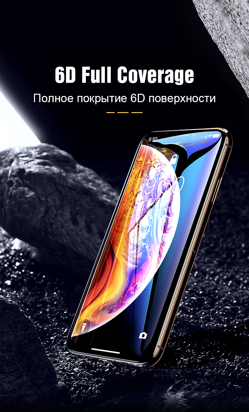 TOMKAS 6D Protective Glass on the For iPhone X XS Max XR Screen Protector Full Cover Curved Edge Glass For iPhone 6 s 7 8 Plus