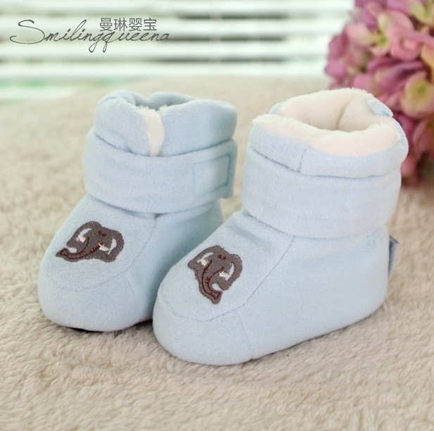 0-1 year old their baby shoes soft outsole toddler winter boots plus velvet thickening handmade male cotton-padded shoes