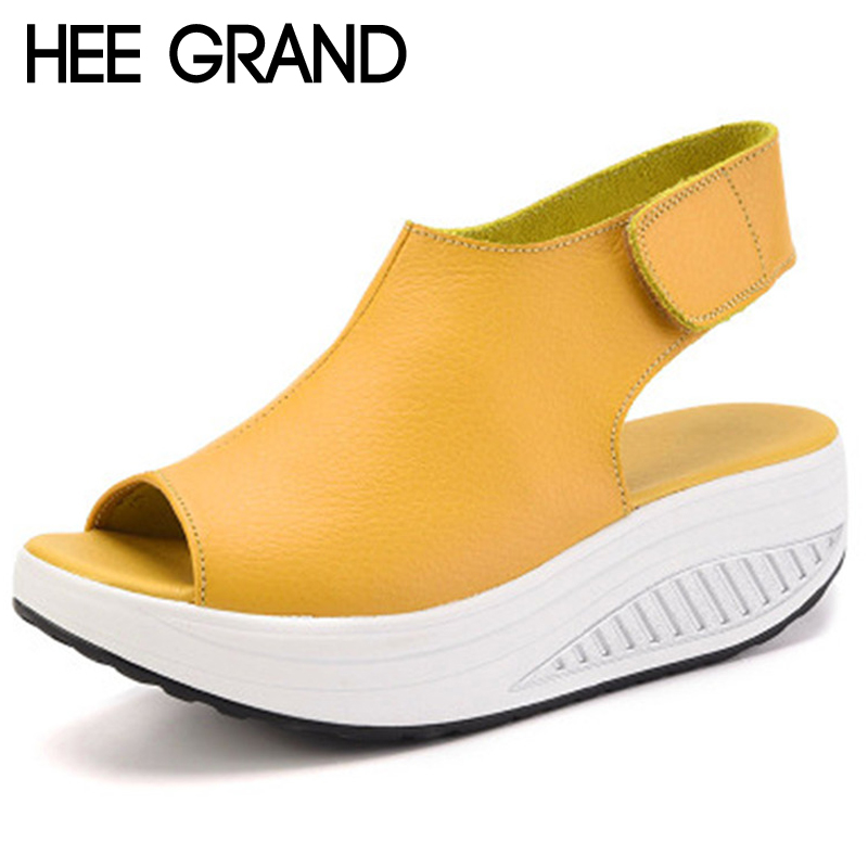 HEE GRAND Wedges 2018 Summer Creepers Platform Woman Sandals Casual Swing Shoes Woman Slip On 5 Colors Plus Size 35-43 XWZ4968 hee grand 2017 creepers summer platform gladiator sandals casual shoes woman slip on flats fashion silver women shoes xwz4074