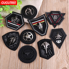 GUGUTREE embroidery patches leather badge metal badges embroidered appliques for denim jeans 20-28