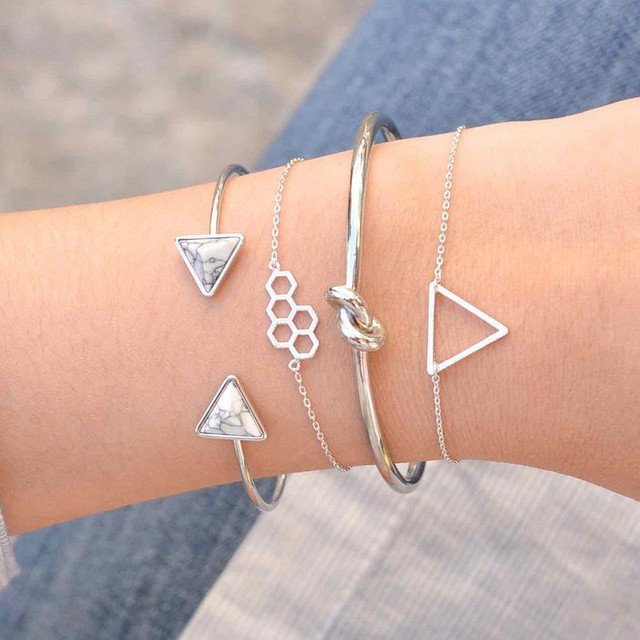 Yobest Bohemian Triangle Bracelets & Bangles For Women Gold Silver Color Stone Cuff Charm Multilayer Bracelet Femme