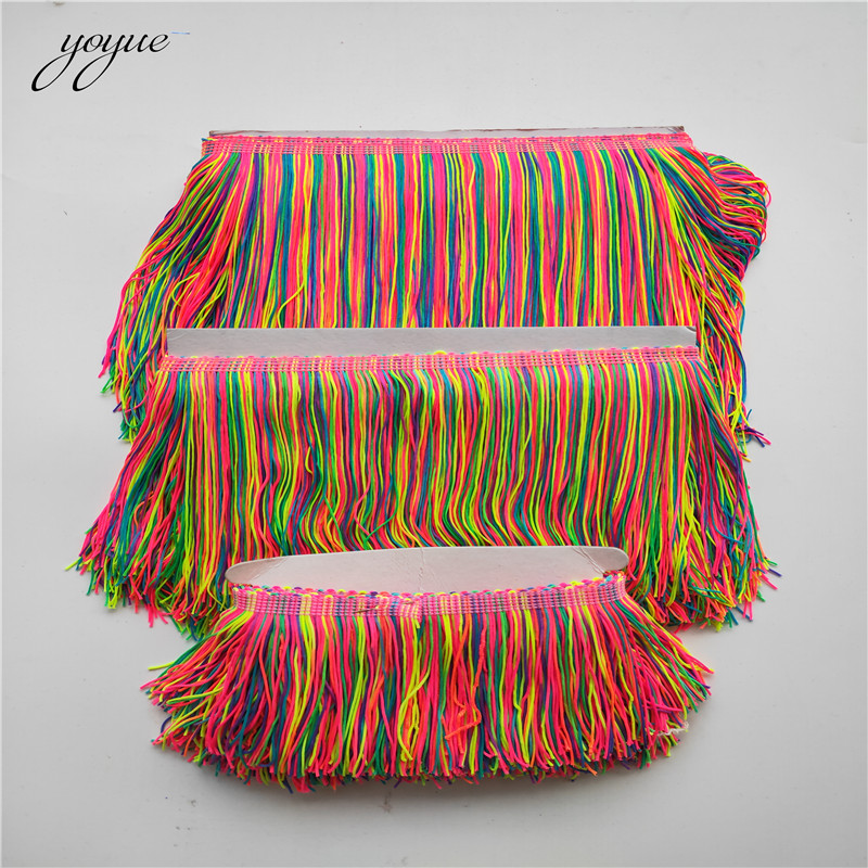 wholesale 5-10 Yards/lot Colorful Fringe Trim Tassel Lace Fringe Trimming Lace For DIY Latin Dress Stage Clothes Accessories