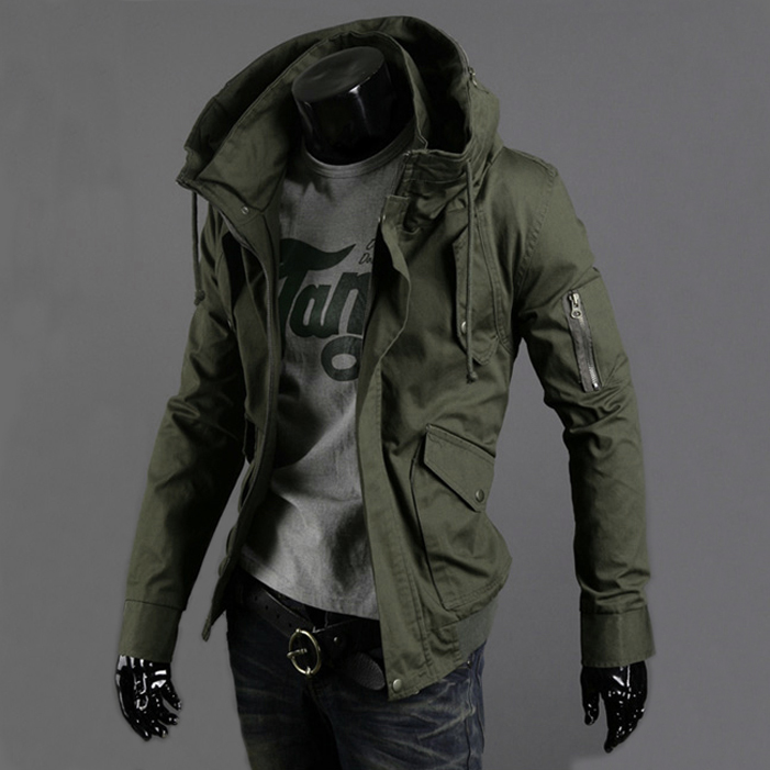2018 spring and summer military jacket male slim popular men's clothing casual outerwear Army Green thin top trend