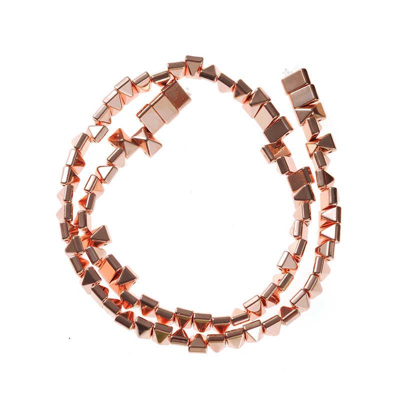 4 цвета натуральный камень кубические бусины покрытием гематит Пирамида Форма бусины 6 мм 8 для изготовления ювелирных изделий из бисера DIY браслет