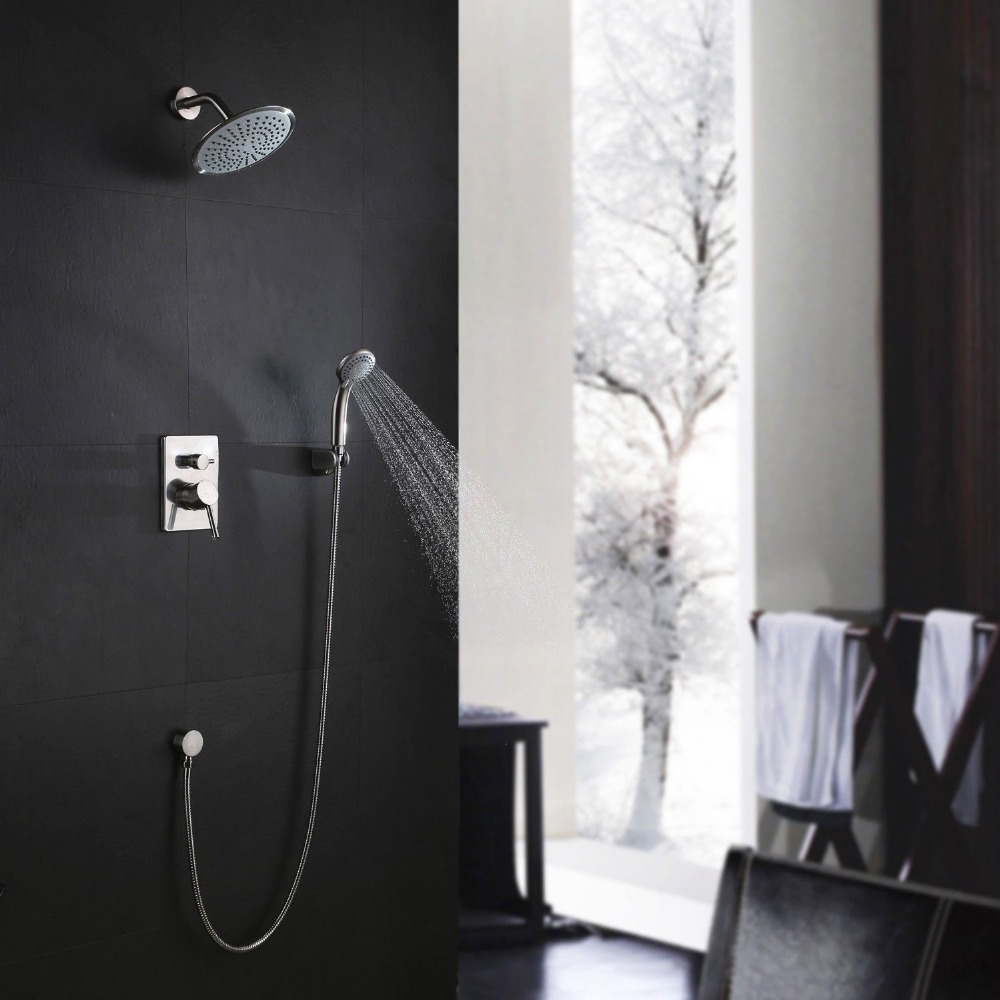 free shipping modern bathroom round rain shower handshower system brushed nickel setchina