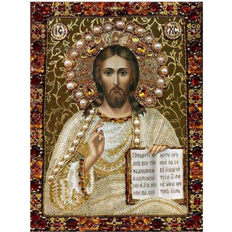 Diy Religion Embroidery Kit round Diamond Painting Russia Human God Jesus Pattern Mosaic Pictures Needlework Diamond art