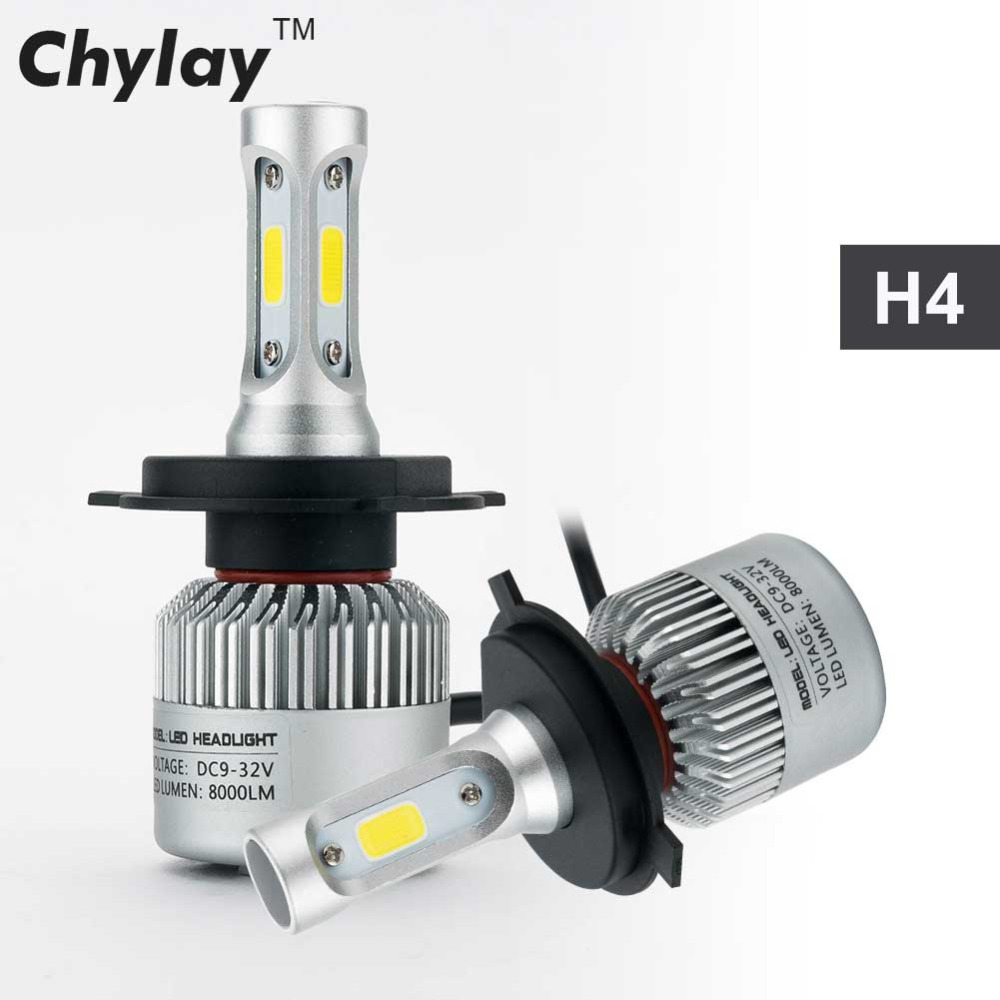 2Pcs H4 LED H7 H11 H1 H3 9005 9006 COB S2 Auto Car Headlight 72W 8000LM High Low Beam Automobiles Lamp Xenon white 6500K Bulb