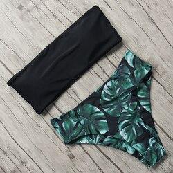 Купальник с принтом, женский купальник, высокая талия, Бразильское бикини, 2019, сексуальный комплект бикини с открытыми плечами, пляжная одеж...