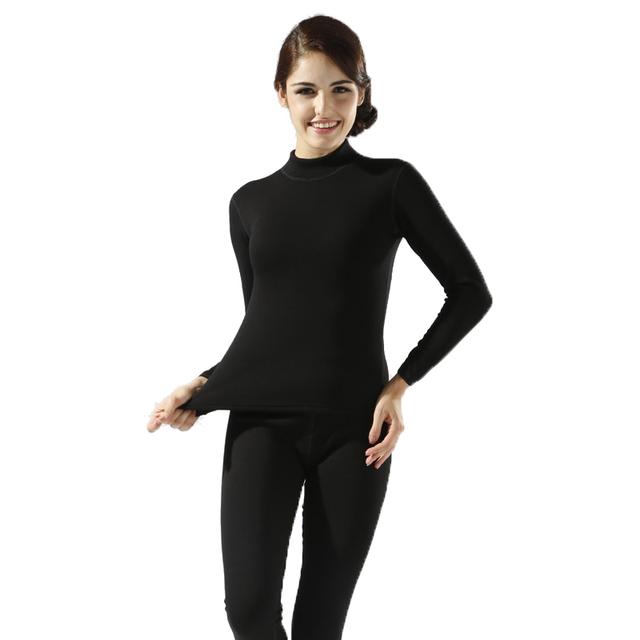 2016 de invierno nuevo de las mujeres de terciopelo grueso de cuello alto de algodón térmico underwear sets sra. caliente de espesor calzoncillos largos más el tamaño de las mujeres longies