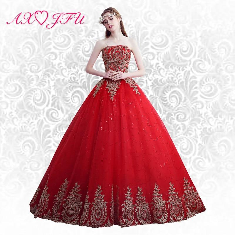 AXJFU rdeča čipka princesa sodna poroka Obleka rdeča roža čipke poroka Obleka princesa cvet rdeča zlata čipka poročna obleka