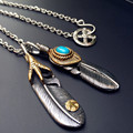 70cm Men Jewelry Vintage Retro Feather Necklaces & Pendant With Long Link Chain Fashion Titanium Necklaces For Men Gift