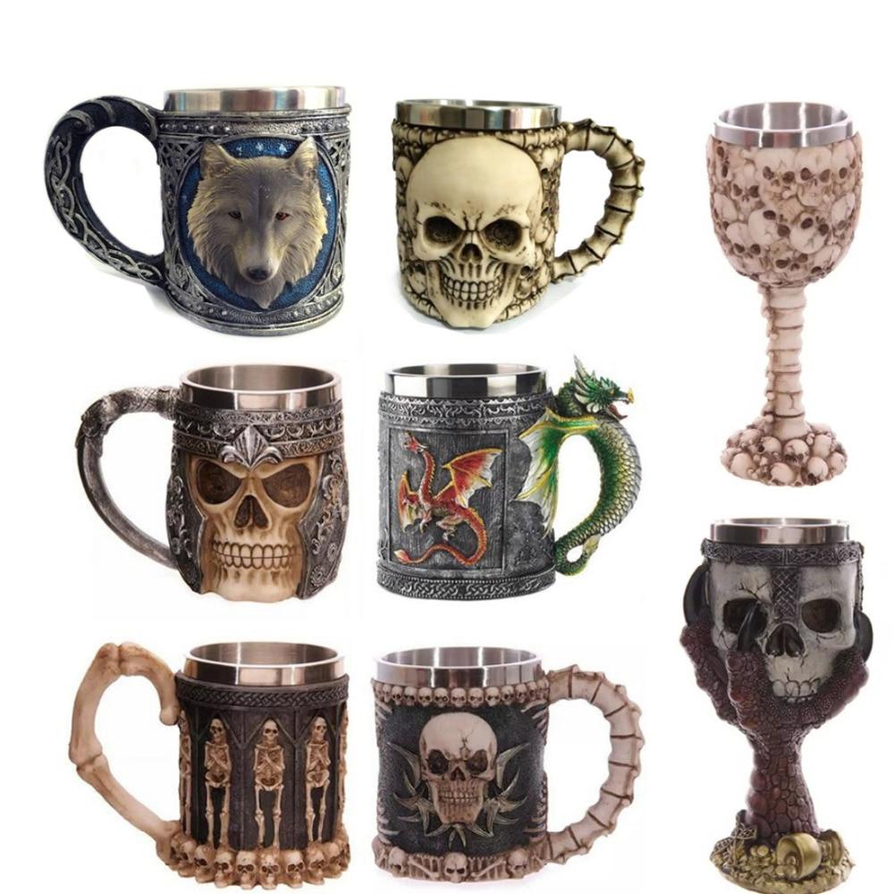 Stainless Steel Coffee Mug 3D <font><b>Skull</b></font> Mugs Wolf Unicorn Mugs Knight Tankard Dragon Beer Cups and Mugs Monster <font><b>Goblet</b></font> Wine Glass