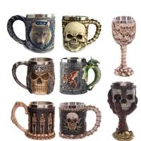Stainless Steel Coffee Mug 3D Skull Mugs Wolf Animal Mugs Knight Tankard Dragon Beer Cups and Mugs Monster Goblet Wine Glass