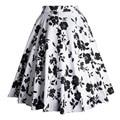 2016 новые цветочные печати большие качели юбки женщин случайных рокабилли высокой талией бальное платье юбка хлопка юбки-миди