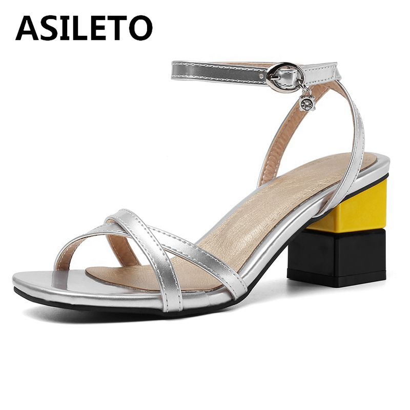 ASILETO large size 45 46 ladies high heel sandals open toe pu leather party shoes summer strappy sandales roman party wedding