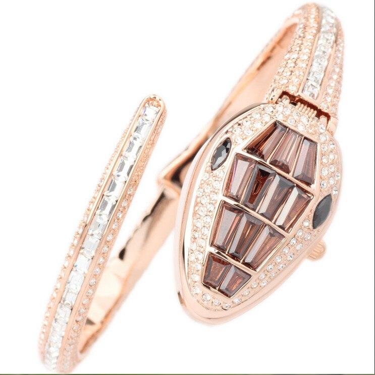 เย็นงูนาฬิกาเดิมเมลิสสาที่มีคุณภาพสูงRhinestoneผู้หญิงพรรคชุดนาฬิกาข้อมือควอทซ์Relogios 3ATM M Ontre F Emme F8068-ใน นาฬิกาข้อมือสตรี จาก นาฬิกาข้อมือ บน   2