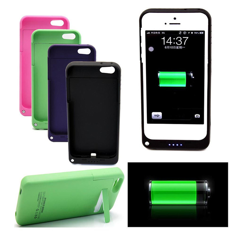 2200mAh Rechargeable External <font><b>Battery</b></font> Backup Charger Case Cover Pack Power Bank for Apple <font><b>iPhone</b></font> 5 <font><b>5S</b></font> 9 Colors Available