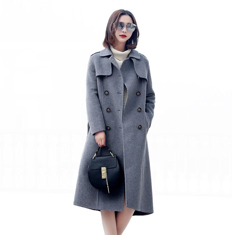 Высокое качество модные зимнее шерстяное пальто женские Винтаж элегантный двухсторонний альпака пальто одноцветное Цвет зима Для женщин д