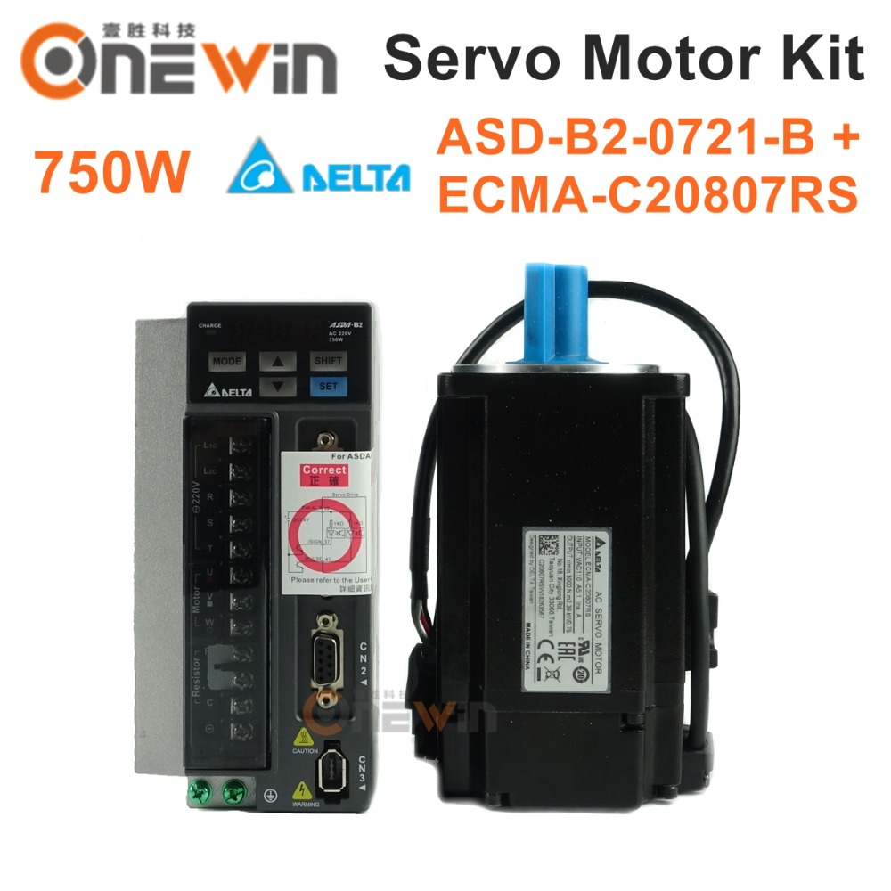 Delta 750W AC servo motor drive kit ASD-B2-0721-B+ECMA-C20807RS diameter 80mm 220V 2.39NM 3000rpm 17bit with 3m cable цена