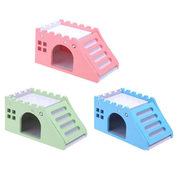14x8x7cm Hamster Toy Bed Cute Exquisite Wooden Hamster House Small Pets Chinchillas Guinea-pig Hamster Nest With Ladder