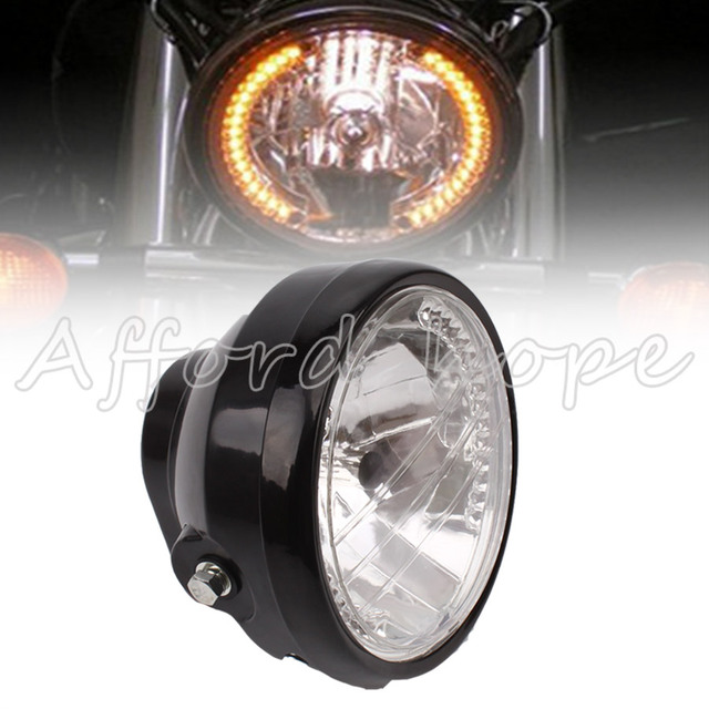 Motorcycle round angel eye h4 35w 7 halogen halo headlight amber led turn signal