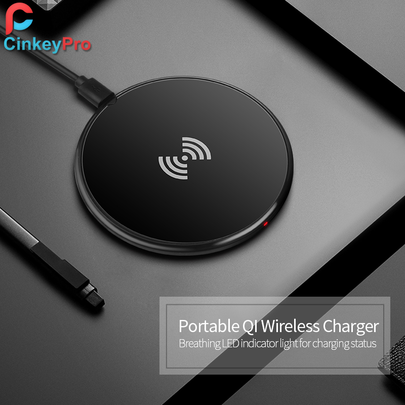 CinkeyPro QI Wireless Charging Charger Pad for Samsung Galaxy S6 S7 S8 Edge Note 5 5V1A Adapter Charge