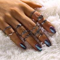 Terreau Kathy Vintage Bohemian Style Sun Moon And Star Flower Leaves 11 Sets Of Ring For