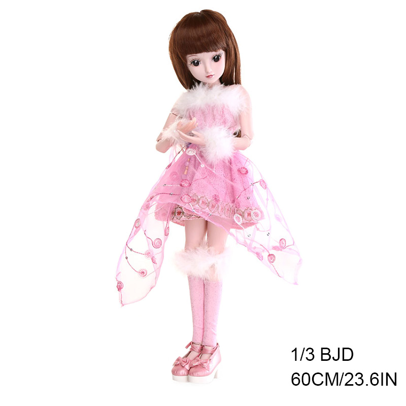 1/3 BJD 19 Joints New Style Movable Body Fashion High Quality Girls Classic Toys Best Gift with Wig and Outfit BJD 60CM 23IN
