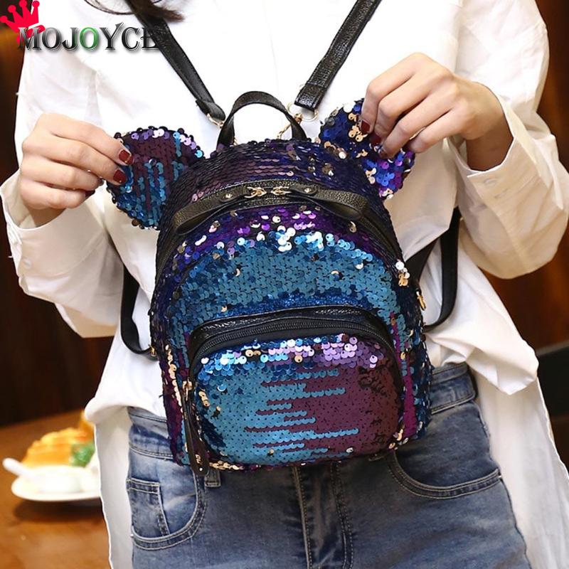 2018 Sequin Shoulder Bag Shining Women Backpacks Teenage Girls Travel Mini School Bags Casual Bear Small Mochila Feminina Sac 4 pcs set women backpacks cute printing bear school bags for teenage girls canvas backpacks ladies shoulder bag mochila feminina