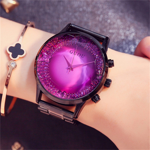 GUOU Big Dial Female Watch 2017 Luxury Brand Rose Gold Women Bracelet Watch Fashion Dress Ladies Wristwatch zegarki damskie