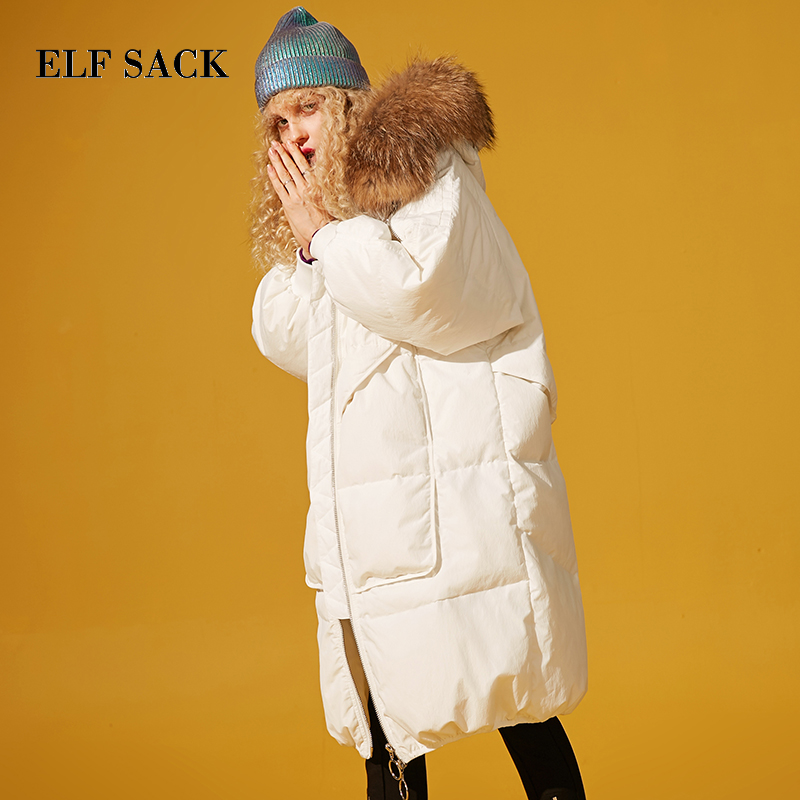 ELF SACK New Woman   Down     Coat   Casual 90% White Duck   Down   Wide-waisted Thick Femme Jackets Solid Warm Womens Outwear Parkas