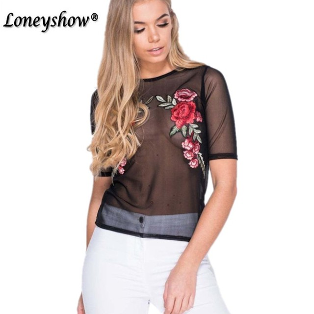 Embroidery Red Rose Floral Mesh Top Tees Summer 2017 T Shirt Women Tops  Sexy Fashion T-Shirt Female Black Lace tshirt Femme c3b4092b55