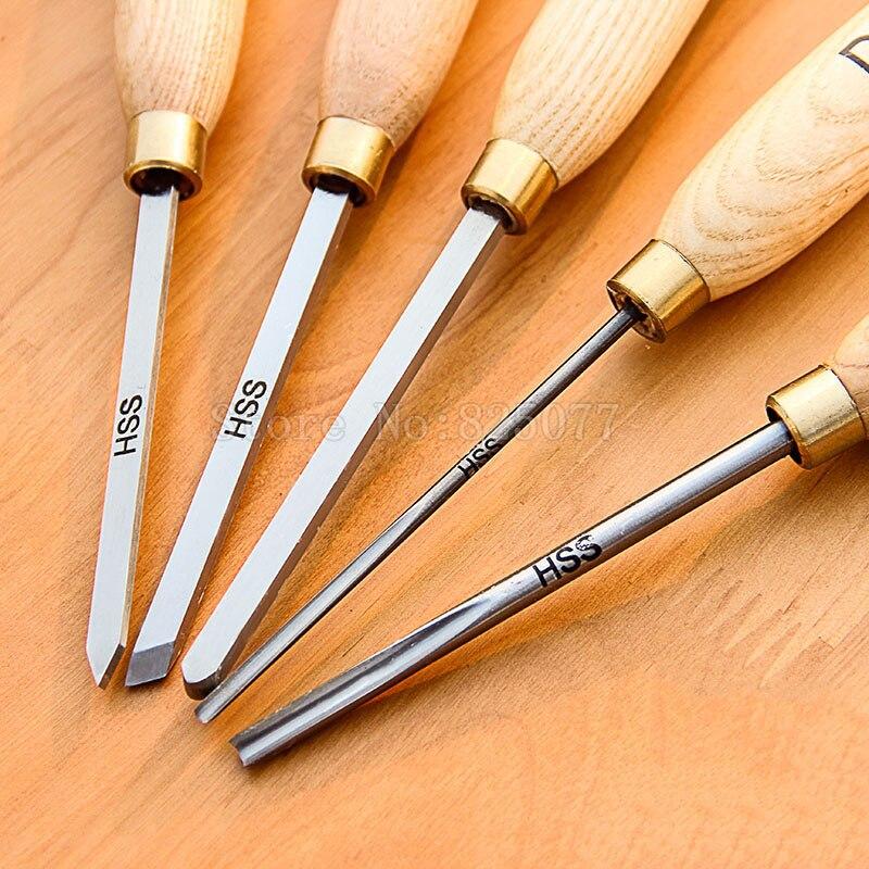 5 pces de alta velocidade de aço hss pequeno conjunto de cinzel de torneamento de madeira para pequenos detalhes ferramentas jf1626