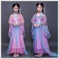 Дети традиционный китайский hanfu танцевальные костюмы дети девушки зеленые рукава вентилятор dress ребенок одежды древний китайский танец костюм