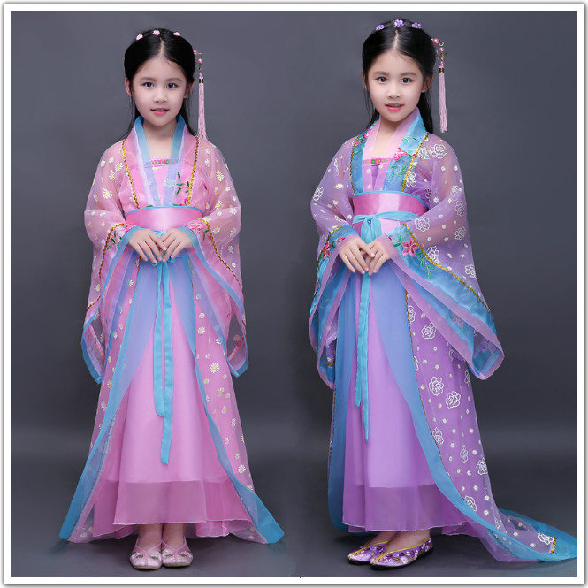 kids traditional chinese dance costumes children girls green sleeve fan hanfu dress child clothing ancient chinese dance costume